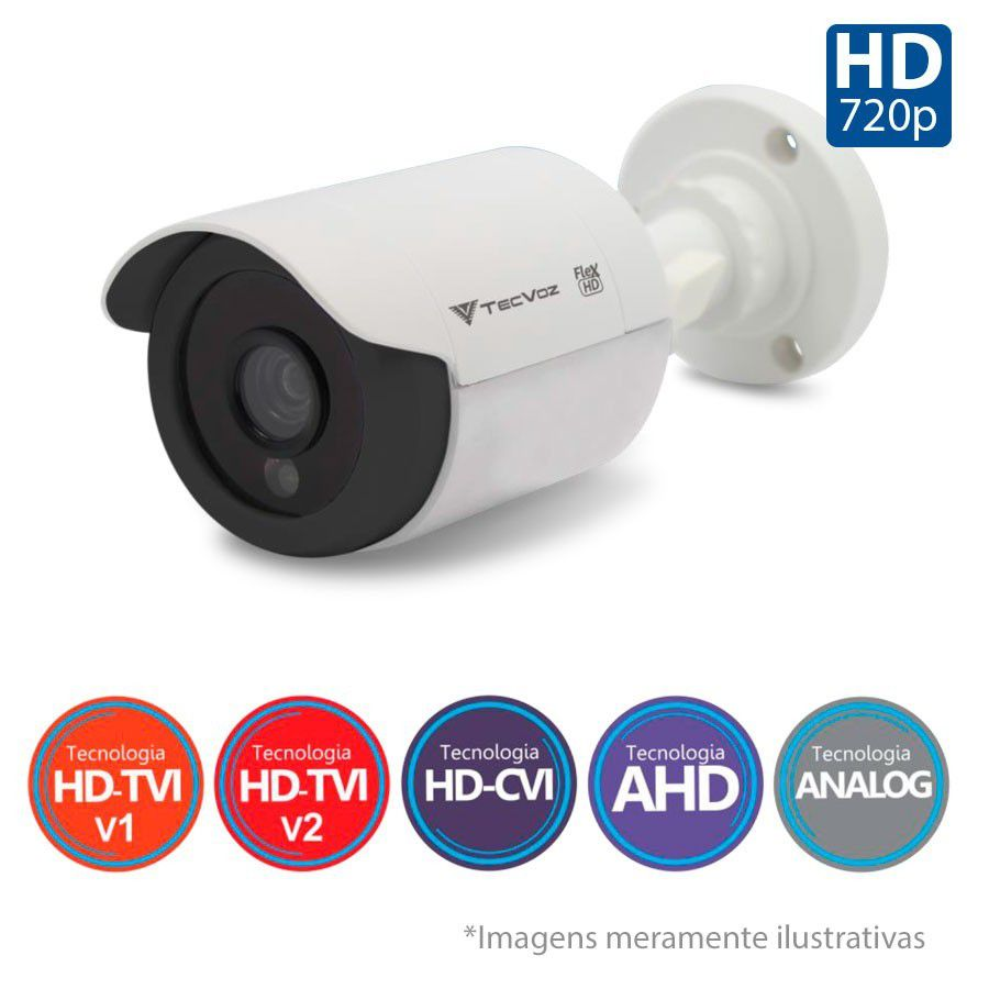 Kit 06 Câmeras de Segurança Tecvoz HD 720p CCB-128P + DVR Intelbras Multi HD + HD para Gravação + Acessórios  - Tudo Forte
