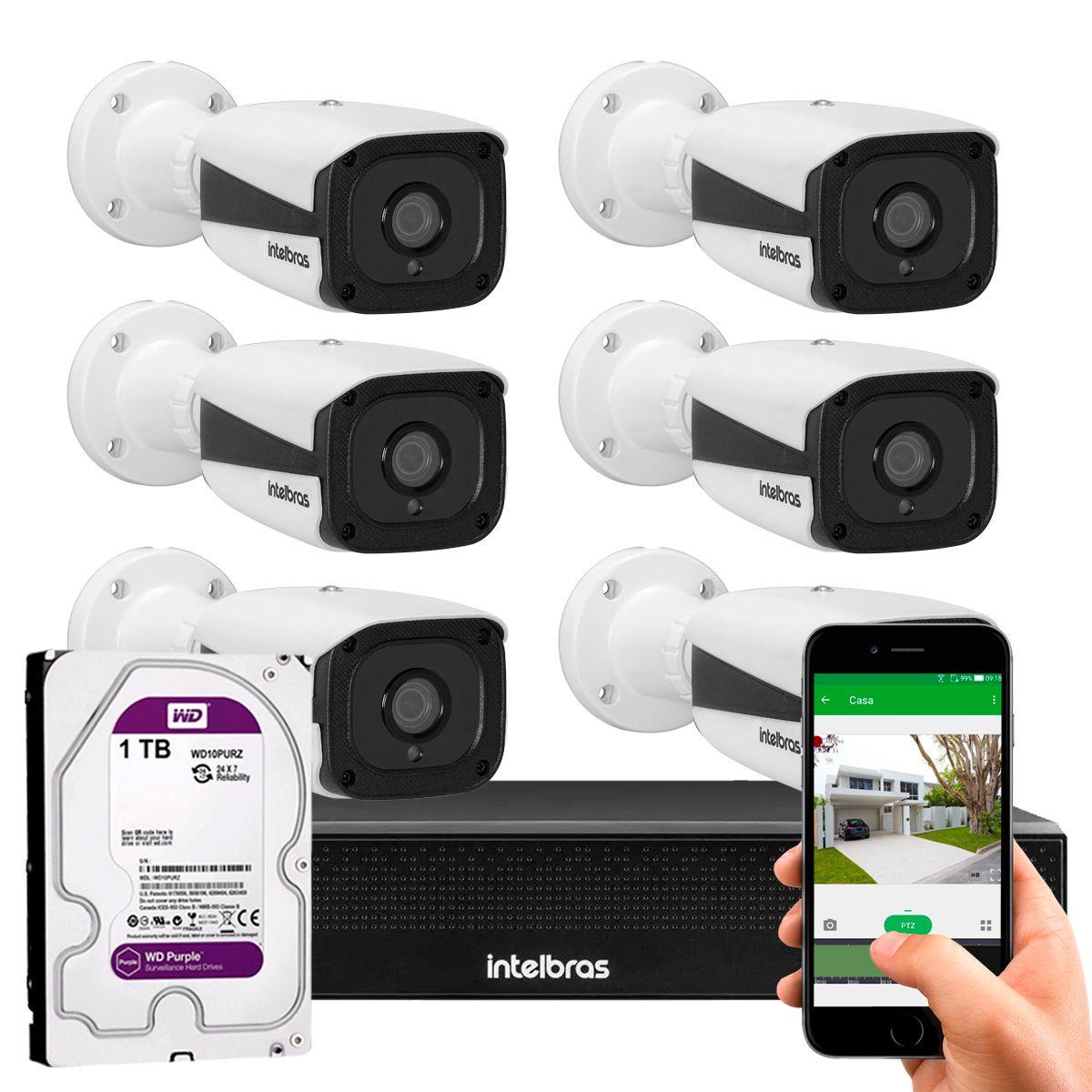 Kit 06 Câmeras IP Full HD Intelbras VIP 1220 B G3 + NVD 1308 + HD WD Purple 1TB  - Tudo Forte