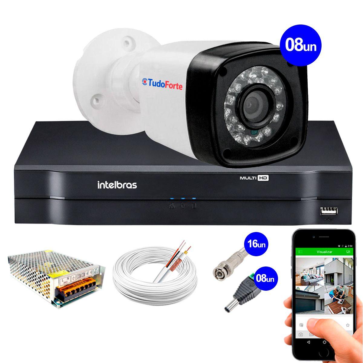 Kit 8 Câmeras + DVR Intelbras + App Grátis de Monitoramento, Câmeras HD 720p 20m Infravermelho de Visão Noturna + Fonte, Cabos e Acessórios  - Tudo Forte
