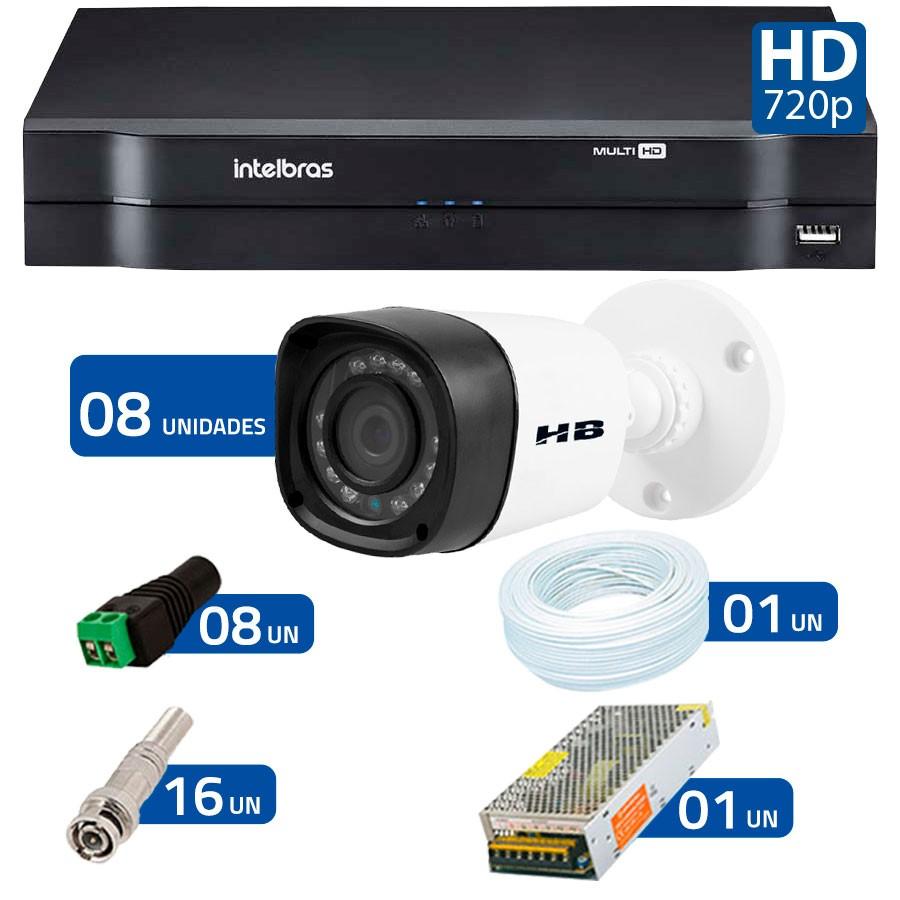 Kit 08 Câmeras de Segurança HD 720p HB Tech + DVR Intelbras Multi HD + Acessórios