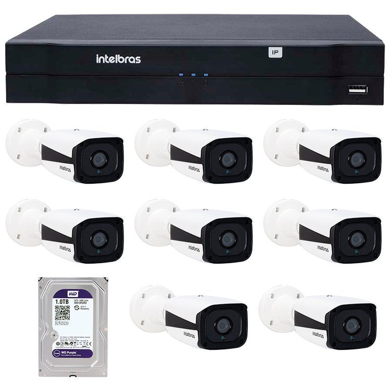 Kit 08 Câmeras de Segurança IP 1Mp HD 720p Intelbras VIP 1120 B + NVD 1108 Intelbras, NVR, HVR + HD WD Purple 1TB