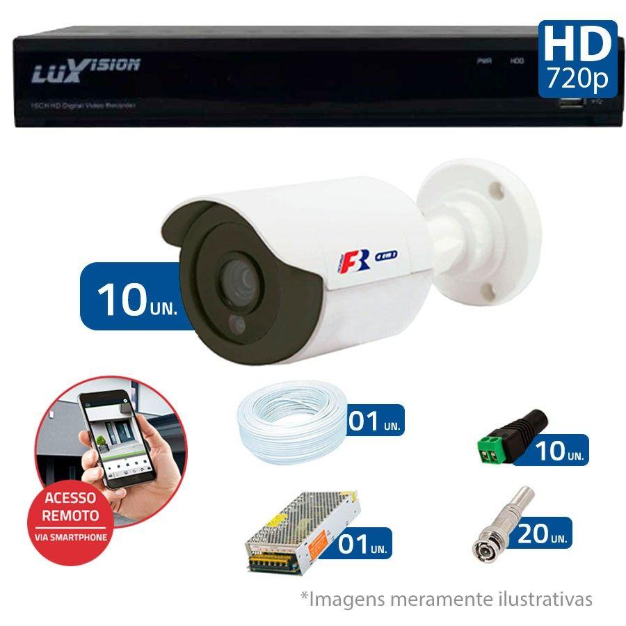 Kit 10 Câmeras de Segurança Bullet HD 720p Focusbras + DVR Luxvision All HD + Acessórios
