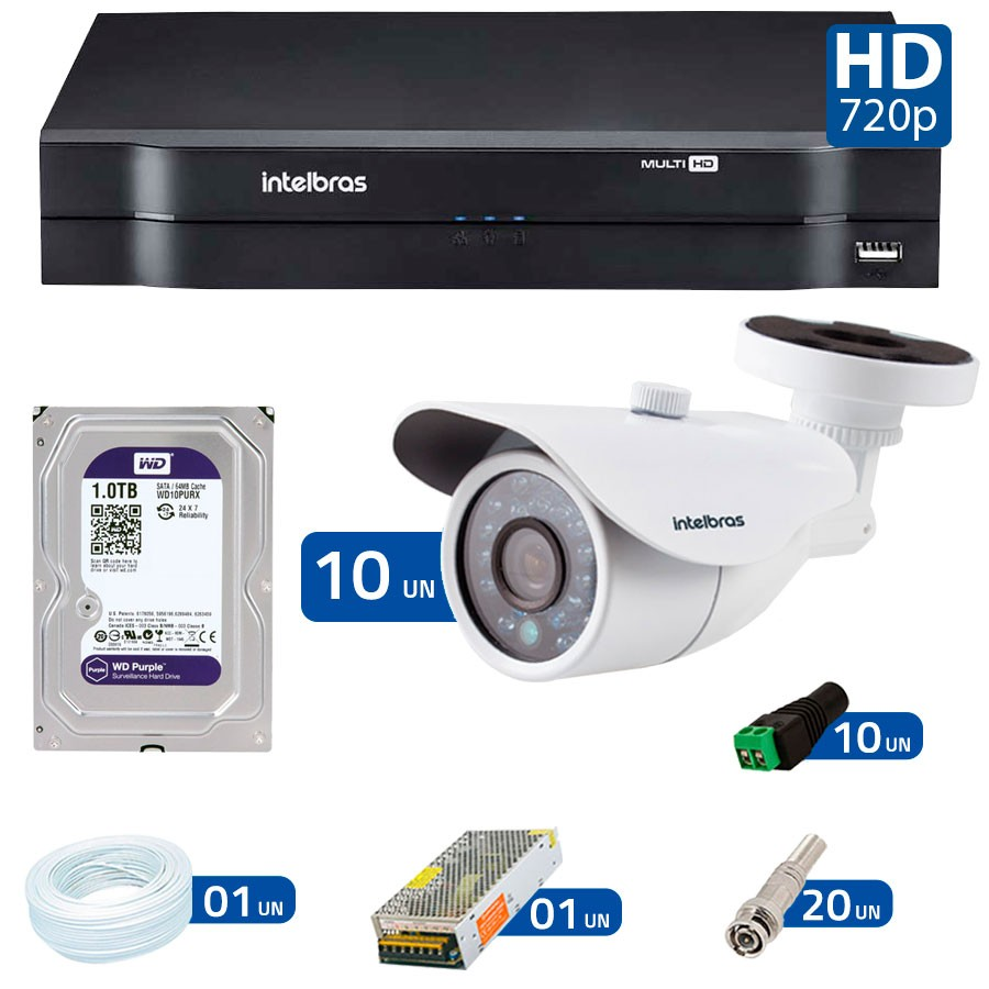 Kit 10 Câmeras de Segurança HD 720p Intelbras VM 3120 IR G4 + DVR Intelbras Multi HD + HD para Gravação + Acessórios