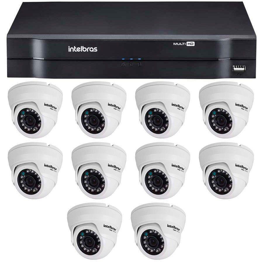 Kit 10 Câmeras de Segurança Dome HD 720p Intelbras VMH 1010 + DVR Intelbras Multi HD + Acessórios  - Tudo Forte