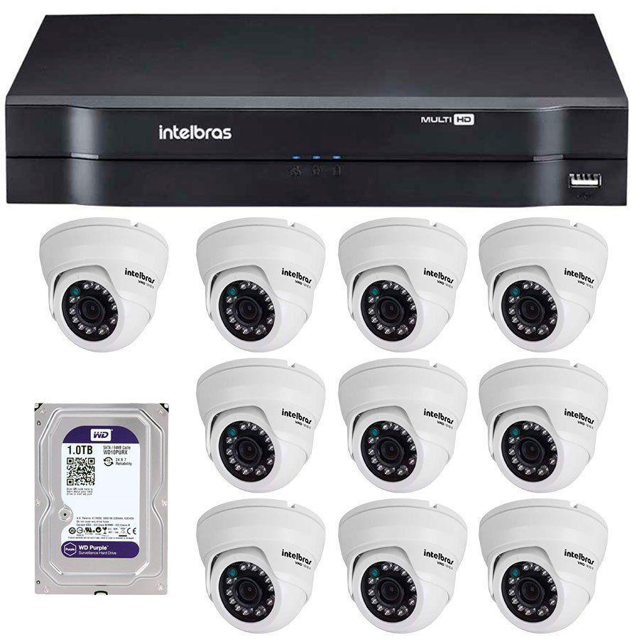 Kit 10 Câmeras de Segurança Dome HD 720p Intelbras VMD 1010 G4 + HD para Gravação 1TB + DVR Intelbras Multi HD + Acessórios