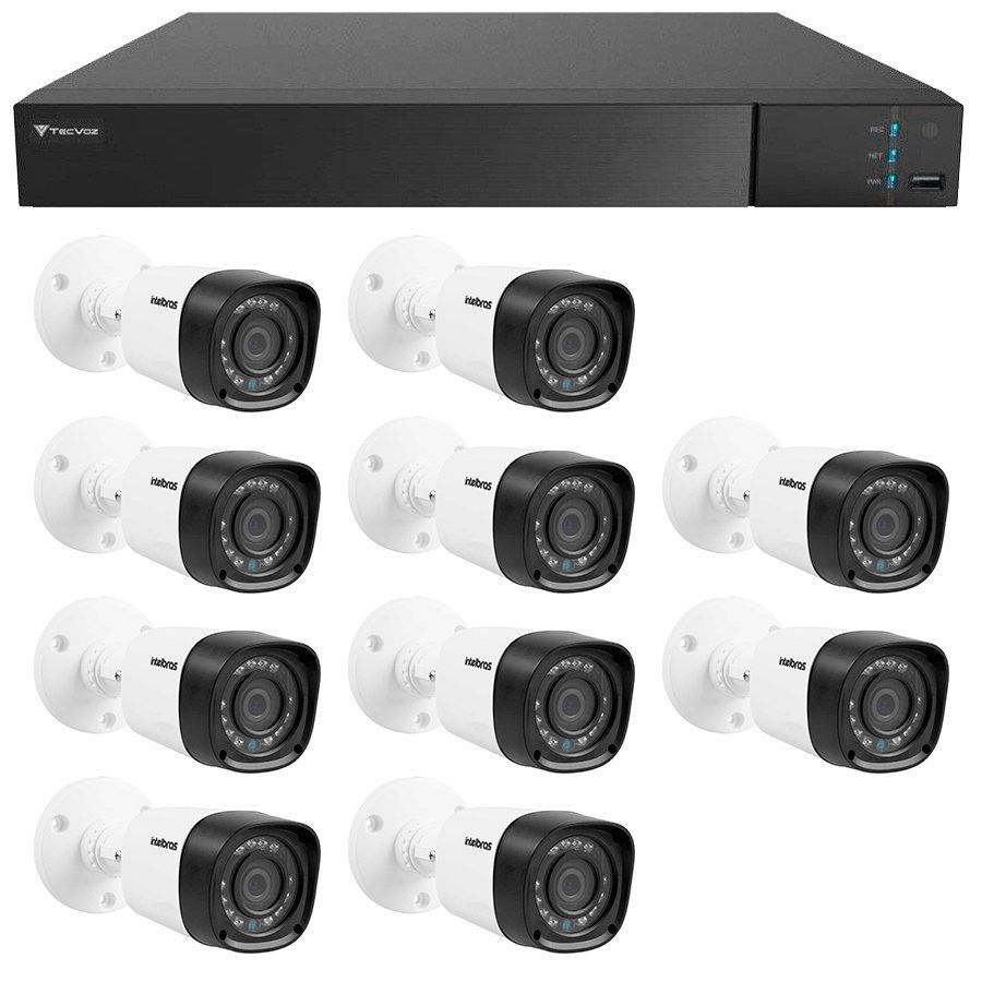 Kit 10 Câmeras de Segurança Full HD 1080p Intelbras VHD 1220 + DVR Tecvoz Flex Full HD + Acessórios  - Tudo Forte