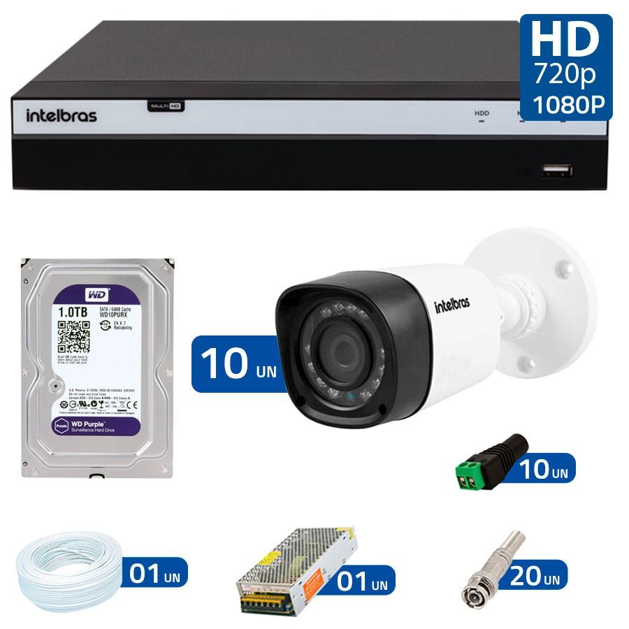 Kit 10 Câmeras de Segurança Full HD 1080p VHD 1220B IR + DVR Intelbras Full HD + HD WD Purple 1TB + Acessórios