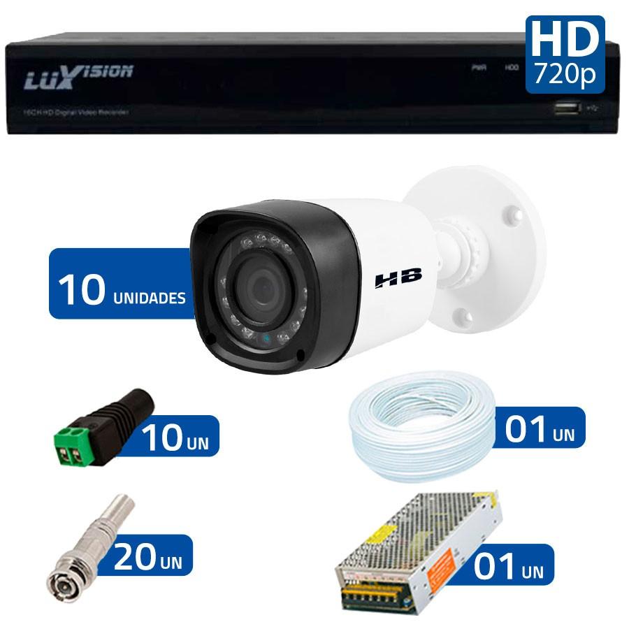 Kit 10 Câmeras de Segurança HB Tech HD 720p + DVR Luxvision All HD 5 em 1 ECD + Acessórios