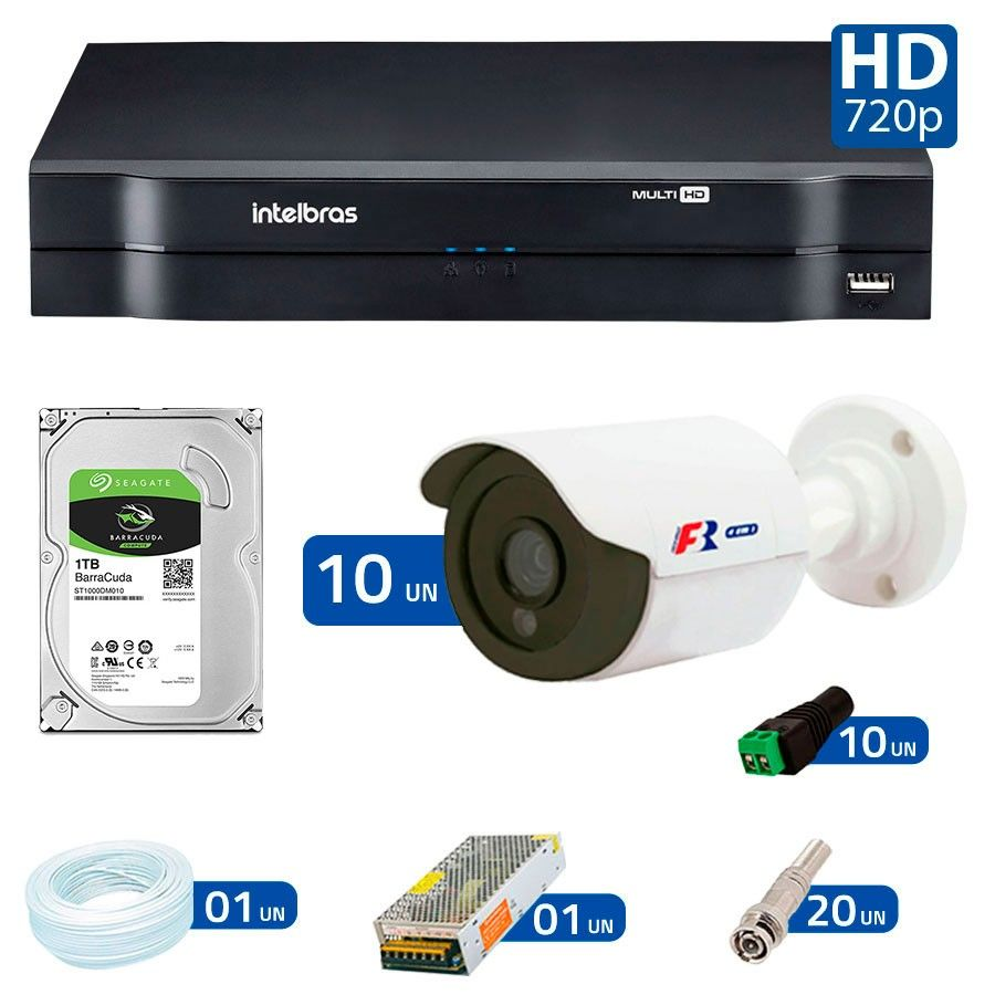 Kit 10 Câmeras de Segurança HD 720p Focusbras + DVR Intelbras Multi HD + HD para Gravação 1TB + Acessórios