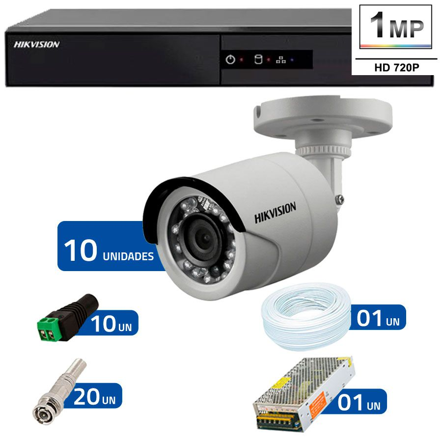 Kit 10 Câmeras de Segurança HD 720p Hikvision 10 metros + DVR Hikvision + Acessórios