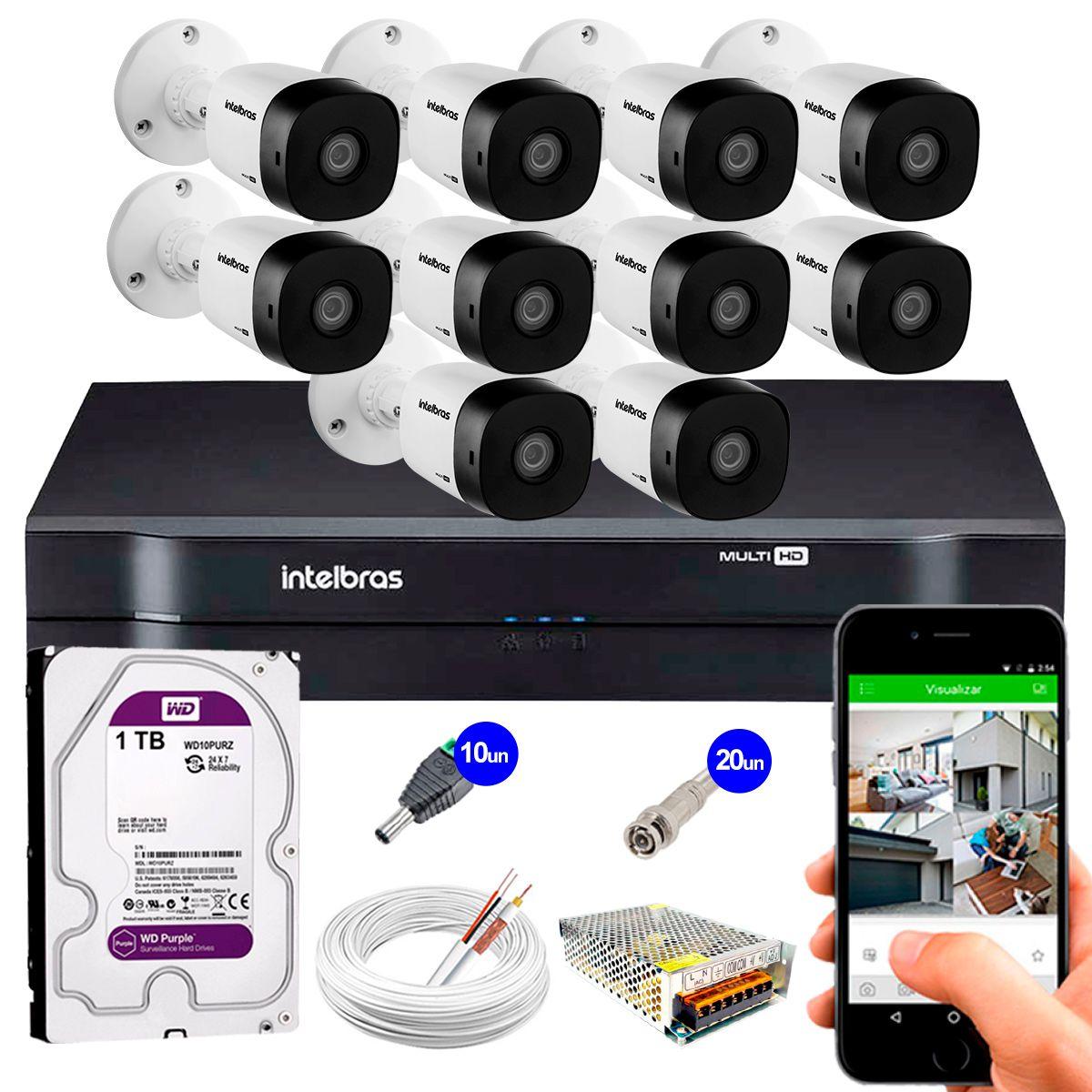 Kit 10 Câmeras VHD 3120 B G5 + DVR Intelbras + HD 1TB + App Grátis de, HD 720p 20m Infravermelho + Cabos e Acessórios  - Tudo Forte