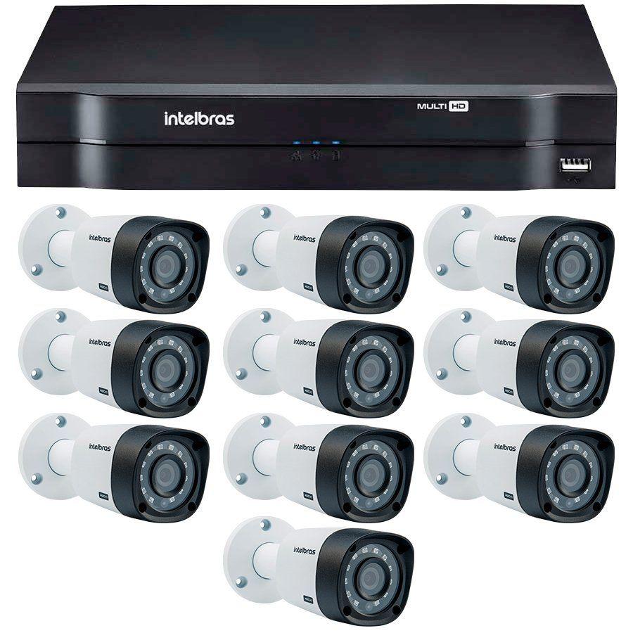 Kit 10 Câmeras de Segurança HD 720p Intelbras VHD 3130B G3 + DVR Intelbras Multi HD + Acessórios