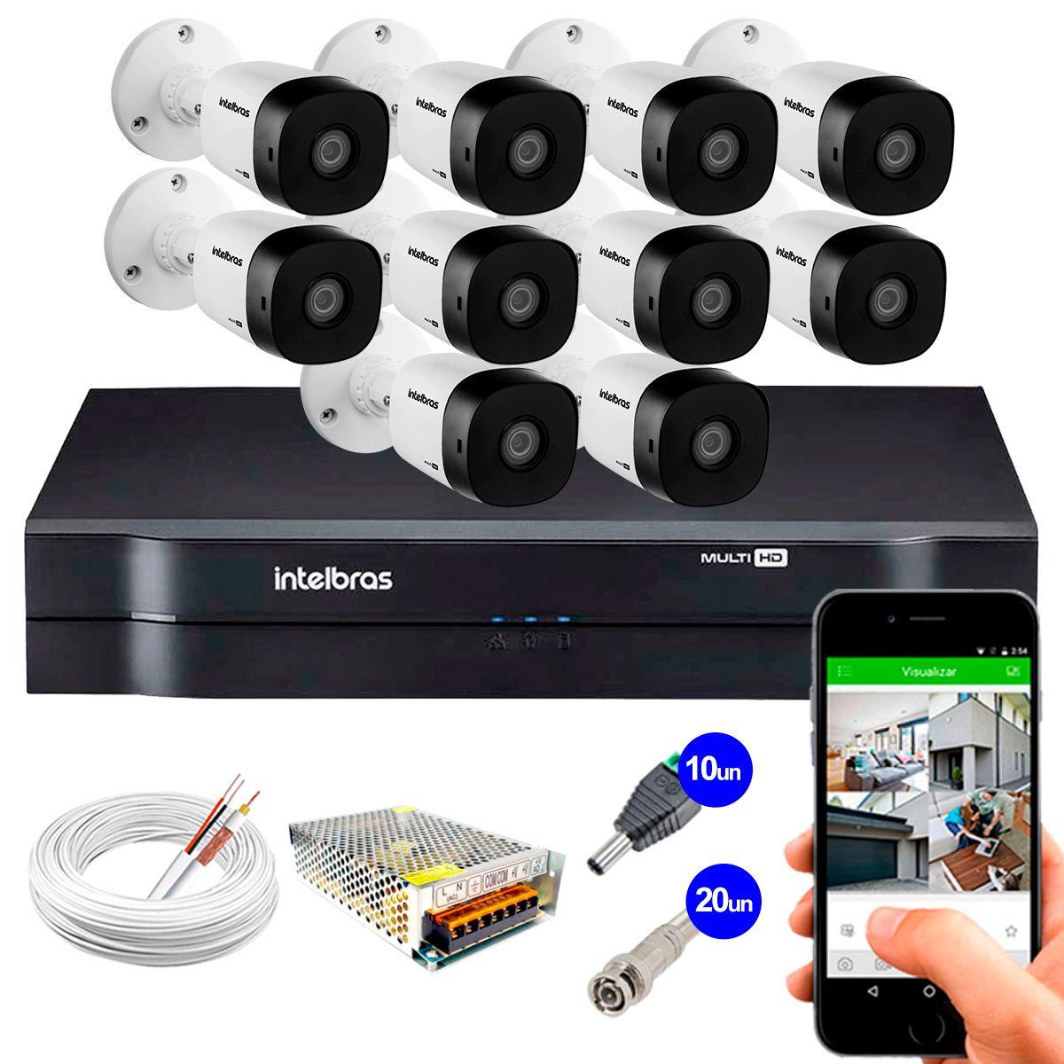 Kit 10 Câmeras VHD 1010 B G5 + DVR Intelbras + App Grátis de Monitoramento, HD 720p 10m Infravermelho + Cabos e Acessórios  - Tudo Forte