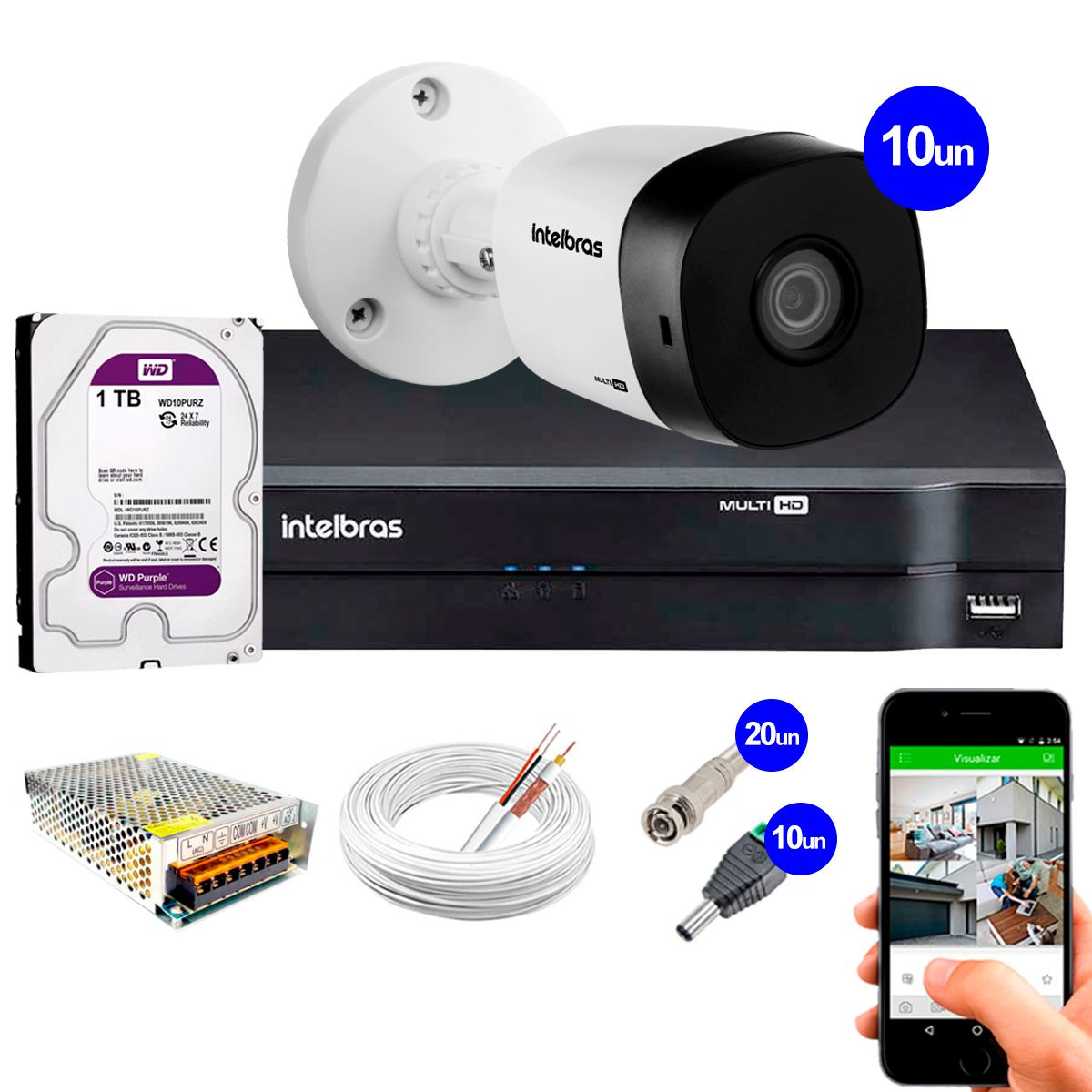 Kit 10 Câmeras VHD 1120 B G5 + DVR Intelbras + HD 1TB para Armazenamento + App Grátis de Monitoramento, Câmeras HD 720p 20m Infravermelho  - Tudo Forte