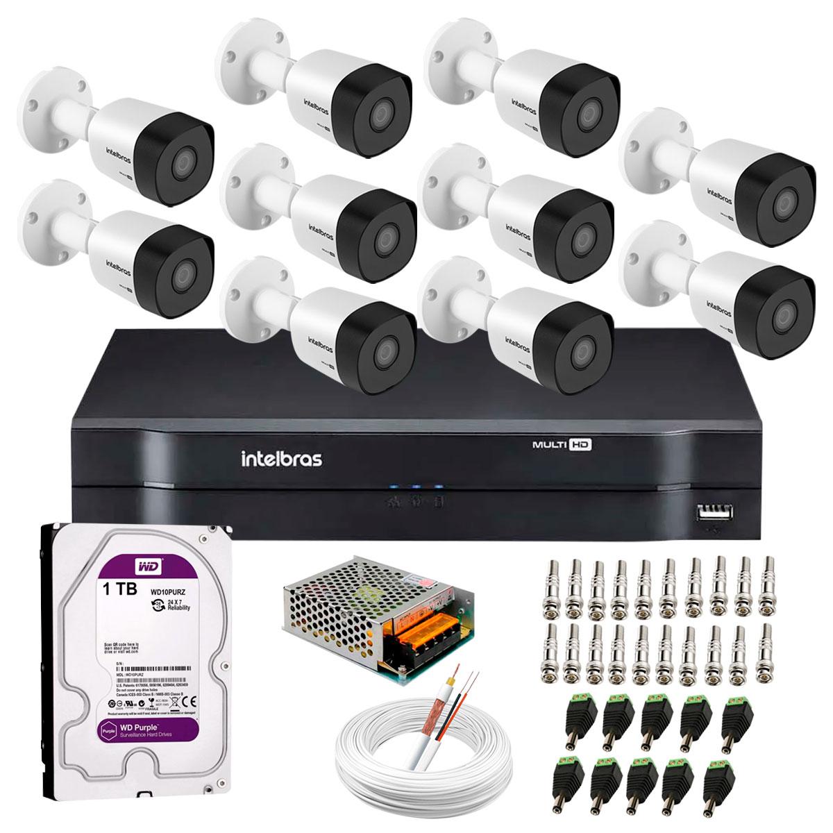 kit-10-cameras-vhd-3130-b-g6-dvr-intelbras-hd-1tb-para-armazenamento-app-gratis-de-monitoramento-cameras-hd-720p-30m-infravermelho-de-visao-noturna-intelbras-fonte-cabos-e-acessorios