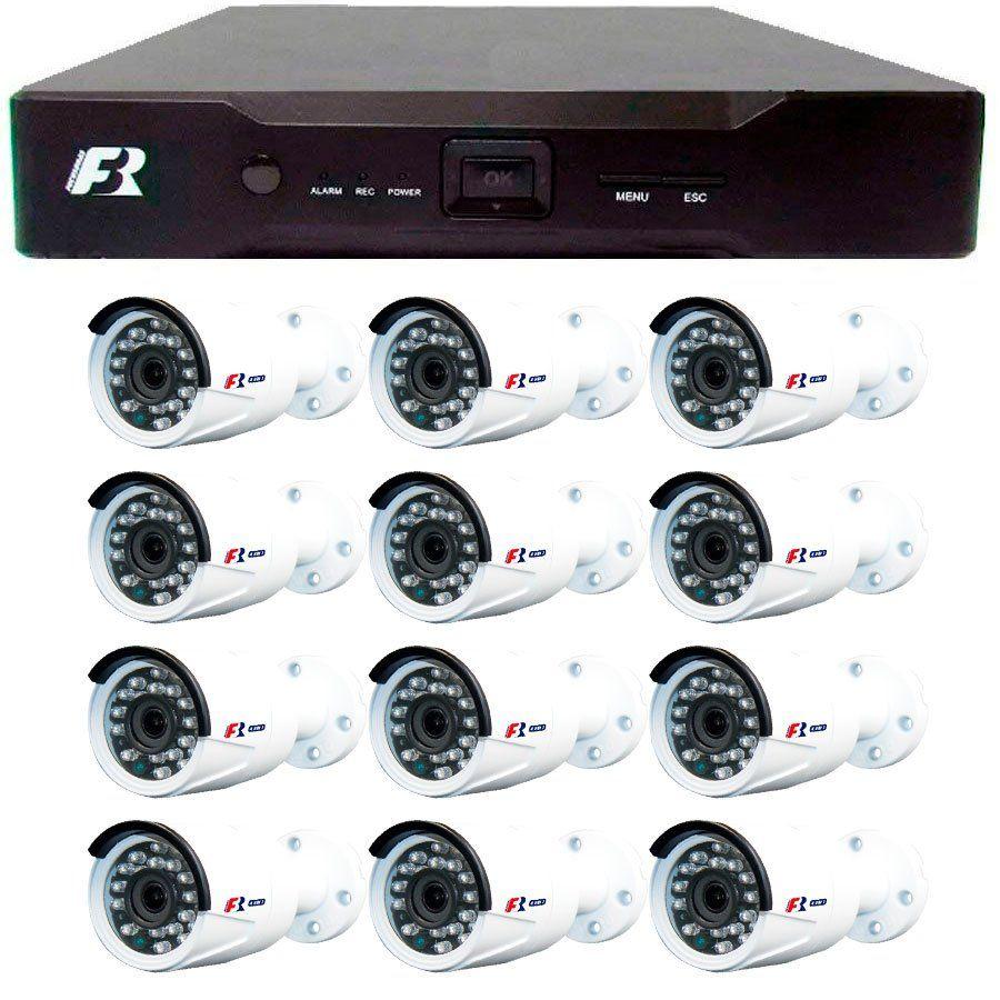 Kit 12 Câmeras de Segurança 1080N  Focusbras FS-MDF2M + DVR Focusbras 1080N + Acessórios