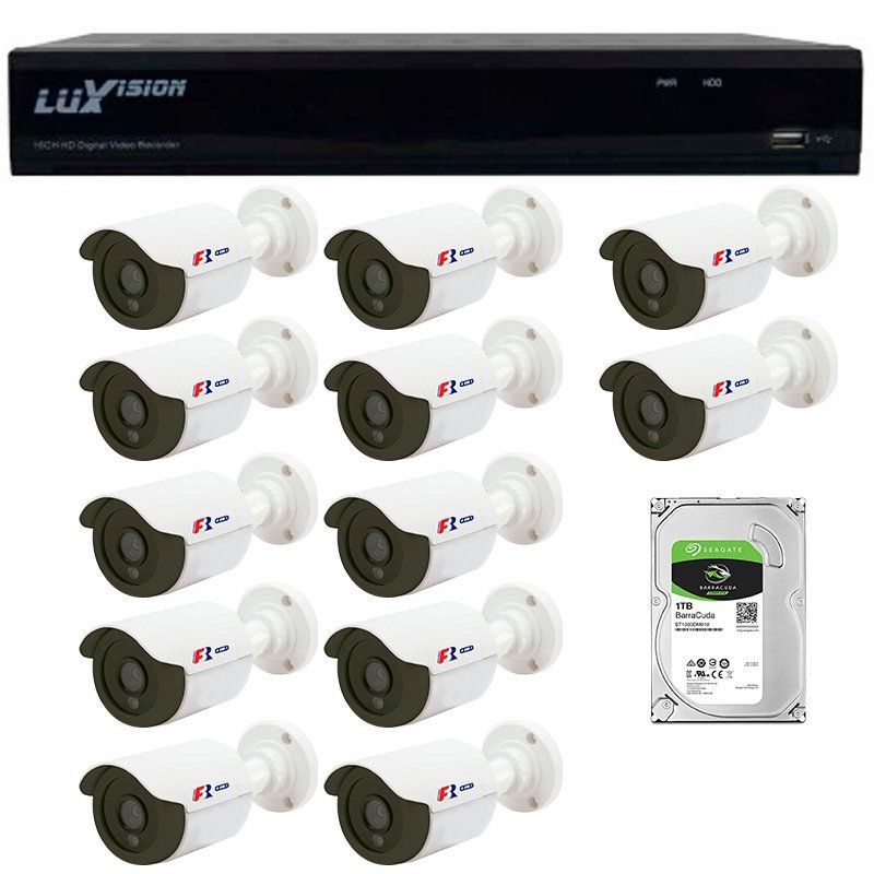 Kit 12 Câmeras de Segurança Bullet HD 720p Focusbras + DVR Luxvision All HD + HD para Gravação 1TB + Acessórios