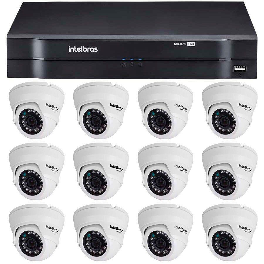 Kit 12 Câmeras de Segurança Dome HD 720p Intelbras VMD 1010 G4 + DVR Intelbras Multi HD + Acessórios