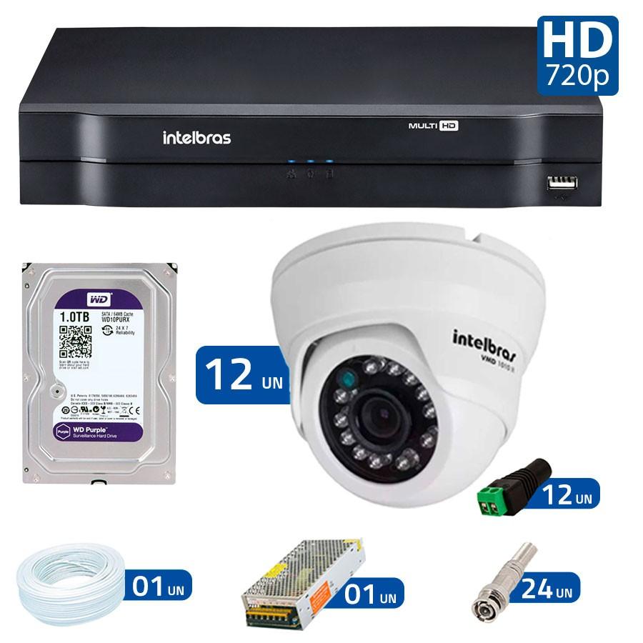 Kit 12 Câmeras de Segurança Dome HD 720p Intelbras VMD 1010 G4 + HD para Gravação 1TB + DVR Intelbras Multi HD + Acessórios