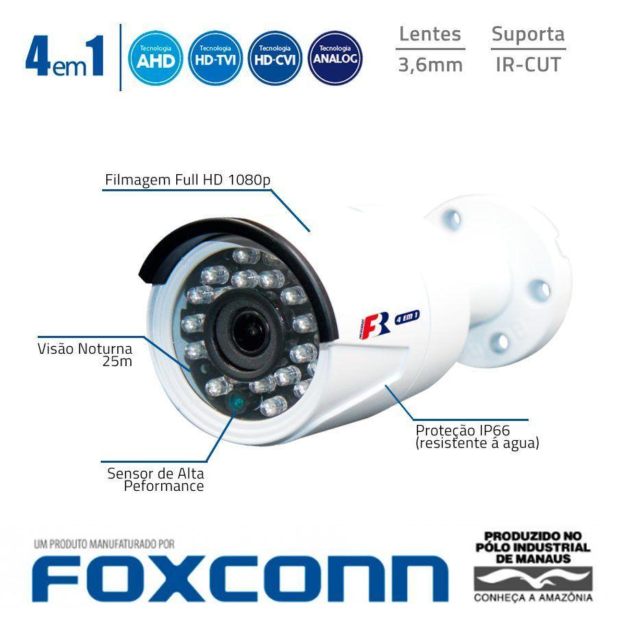 Kit Full HD DVR Intelbras 1080p + 12 Câmeras de Segurança Full HD 1080p Focusbras FS-MDF2M + Acessórios