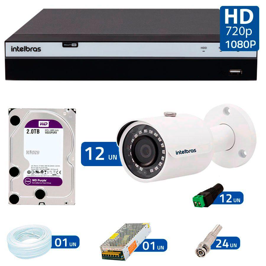 Kit 12 Câmeras de Segurança Full HD 1080p VHD 3230B G4 + DVR Intelbras Full HD + HD WD Purple 2TB + Acessórios