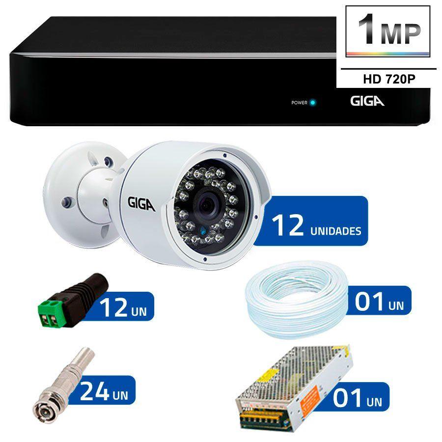 Kit 12 Câmeras de Segurança HD 720p Giga Security GS0016  + DVR Giga Security Multi HD + Acessórios