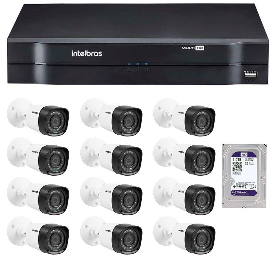 Kit 12 Câmeras de Segurança HD 720p Intelbras VHD 1010B G4 + DVR Intelbras Multi HD + HD WD Purple 1TB + Acessórios