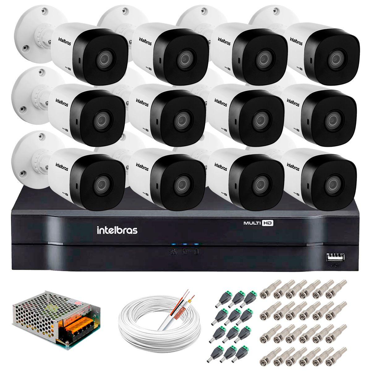 Kit 12 Câmeras VHD 3120 B G5 + DVR Intelbras + App Grátis de Monitoramento, HD 720p 20m Infravermelho + Cabos e Acessórios  - Tudo Forte