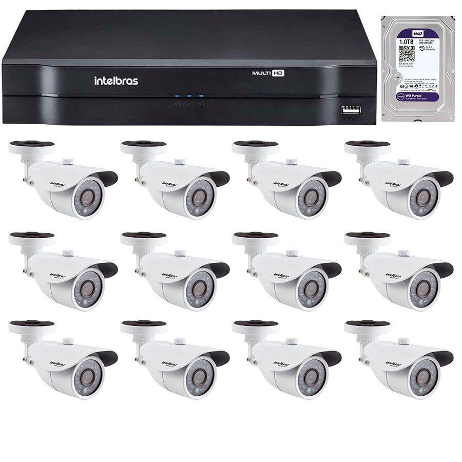 Kit 12 Câmeras de Segurança HD 720p Intelbras VM 3120 IR G4 + DVR Intelbras Multi HD + HD para Gravação + Acessórios