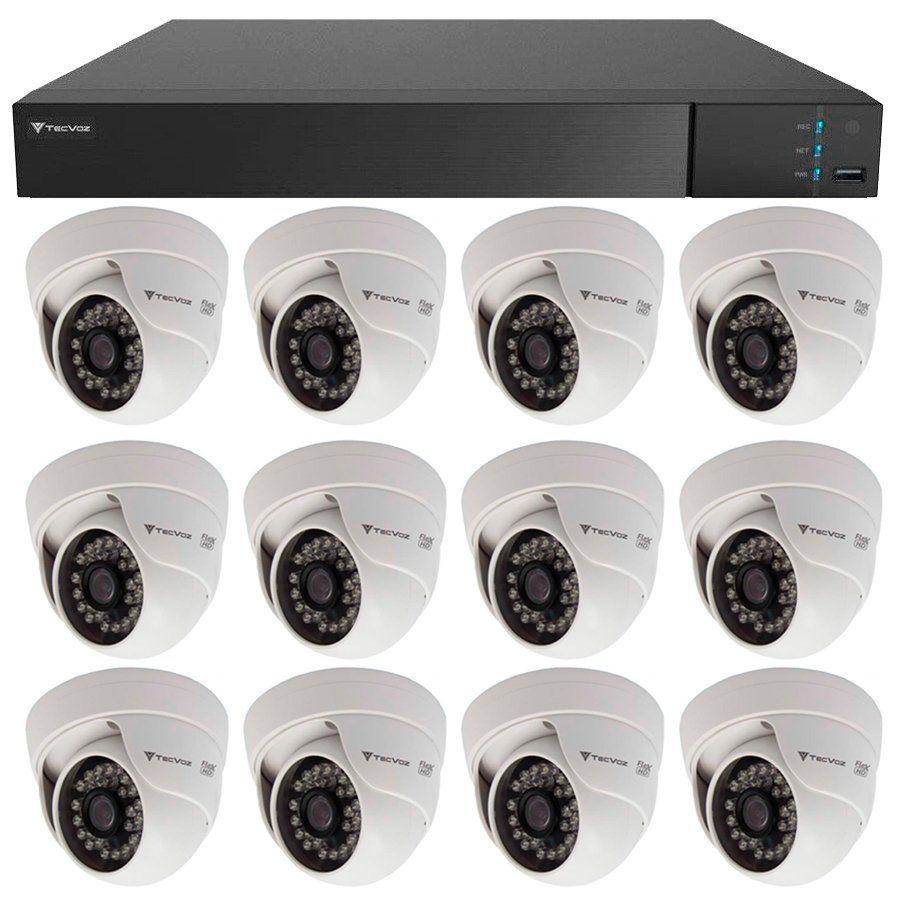 Kit 12 Câmeras de Segurança HD 720p Tecvoz Flex QDM 128P - DVR Tecvoz Flex 4 em 1 + Acessórios  - Tudo Forte
