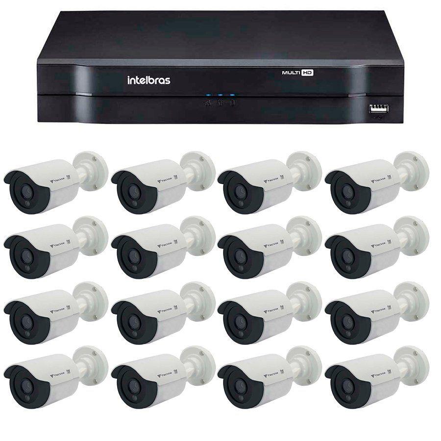 Kit 12 Câmeras de Segurança Tecvoz HD 720p CCB-128P + DVR Intelbras Multi HD + Acessórios