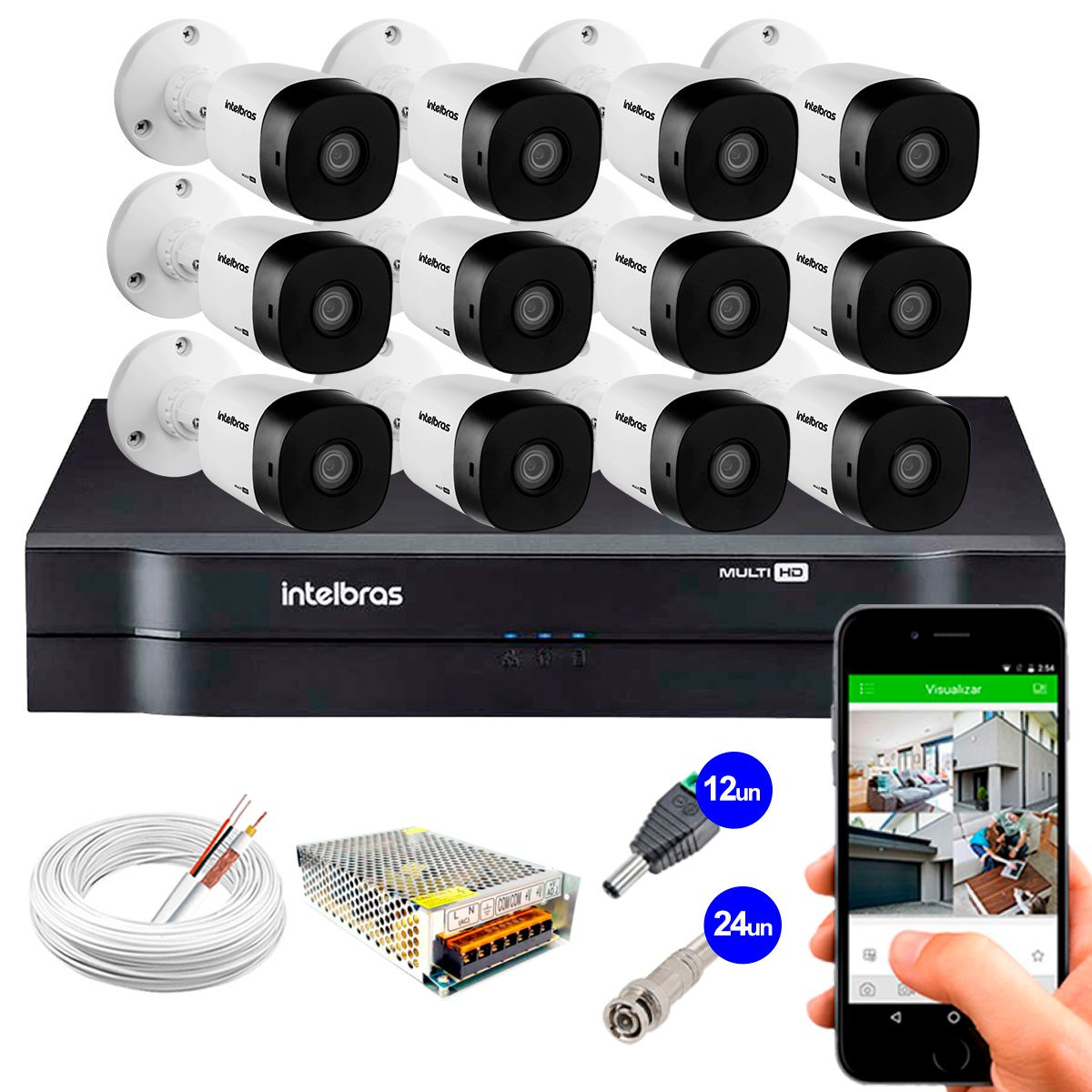 Kit 12 Câmeras VHD 1010 B G5 + DVR Intelbras + App Grátis, HD 720p 10m Infravermelho + Cabos e Acessórios  - Tudo Forte