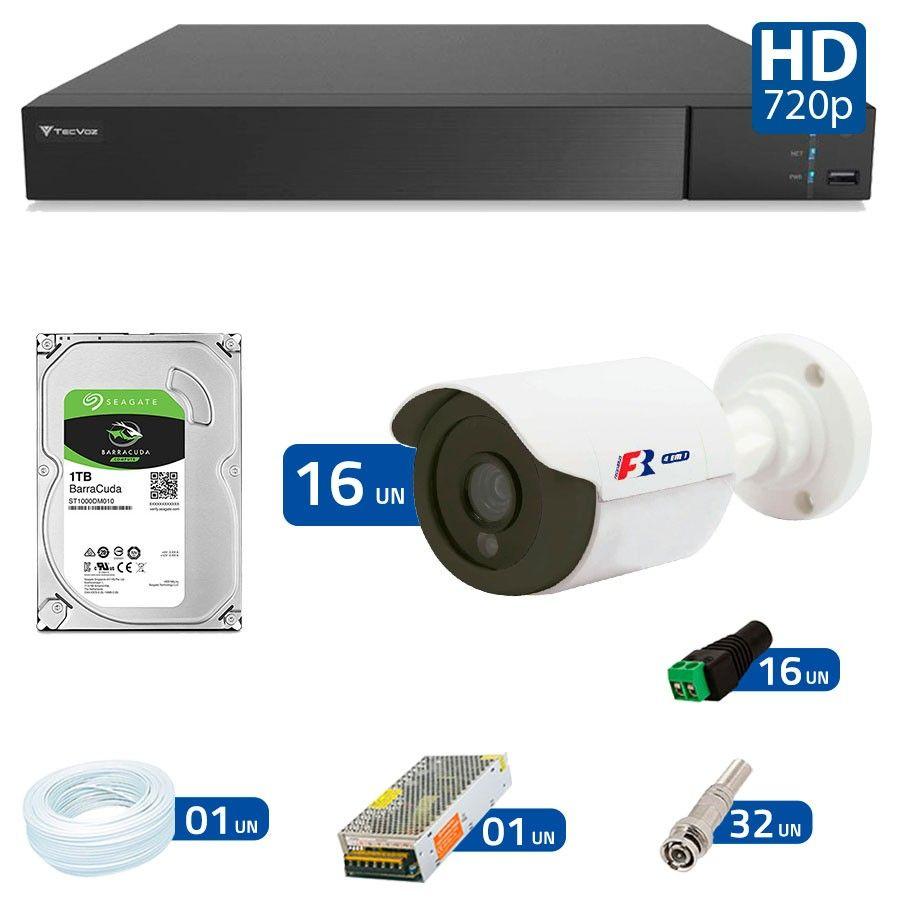Kit 16 Câmeras de Segurança Bullet HD 720p Focusbras + DVR Flex Tecvoz + HD para Gravação 1TB + Acessórios