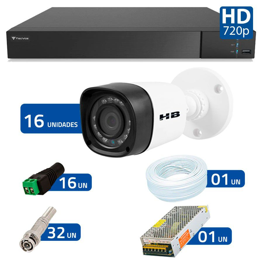 Kit 16 Câmeras de Segurança Bullet HD 720p HB Tech + DVR Flex Tecvoz + Acessórios  - Tudo Forte