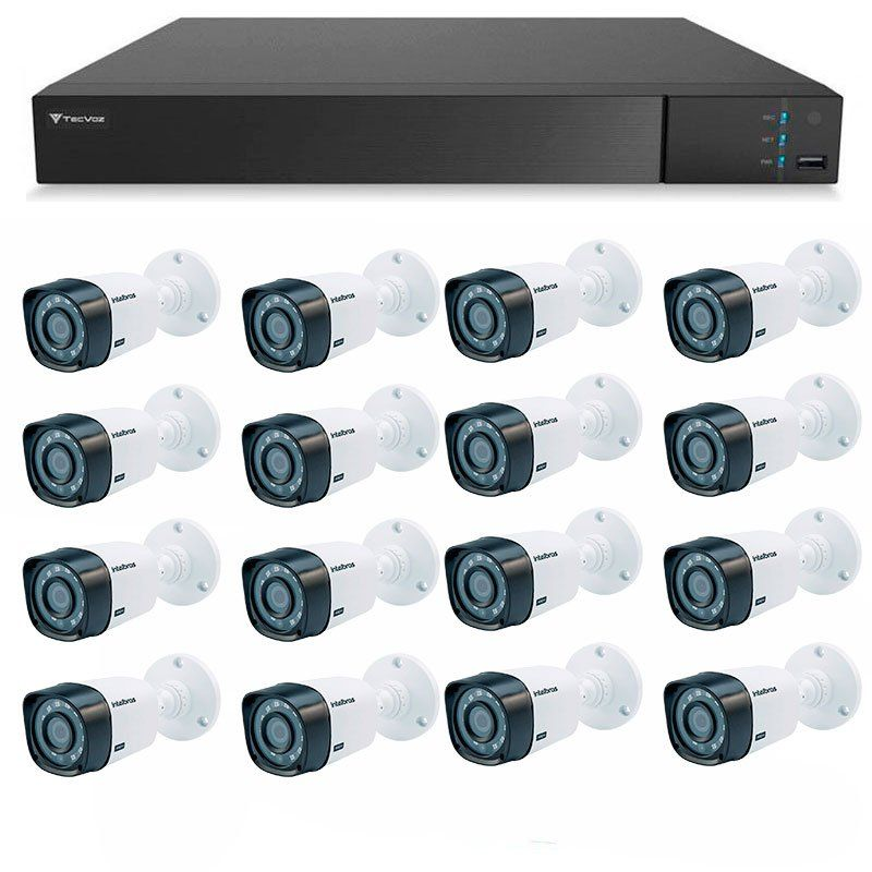 Kit 16 Câmeras de Segurança Full HD 1080p Intelbras VHD 1220 + DVR Tecvoz Flex Full HD + Acessórios