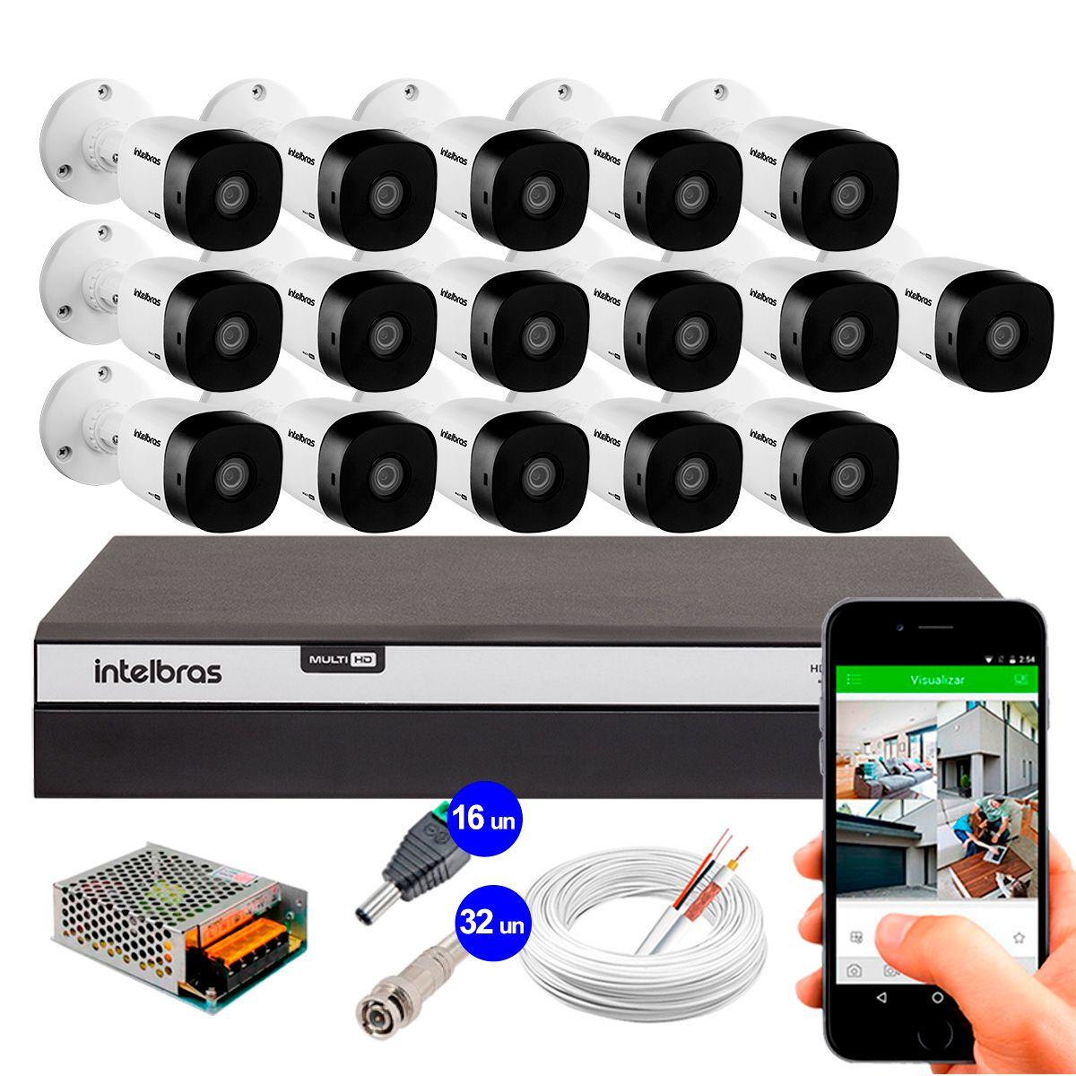 Kit 16 Câmeras de Segurança Full HD 1080p Intelbras VHD 1220B IR + DVR Intelbras Full HD 16 Ch + Acessórios  - Tudo Forte