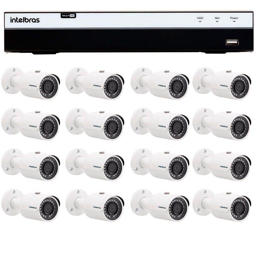 Kit 16 Câmeras de Segurança Full HD 1080p Intelbras VHD 3230 G4 + DVR Intelbras Full HD 16 Ch + Acessórios