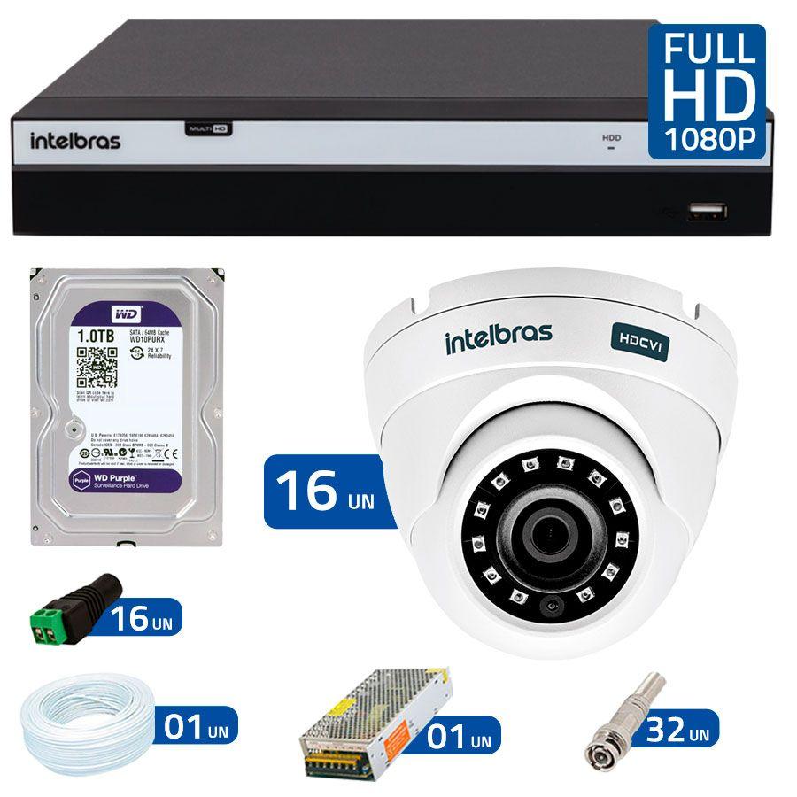 Kit 16 Câmeras de Segurança Full HD 1080p VHD 3220D G4 + DVR Intelbras Full HD + HD para Gravação + Acessórios