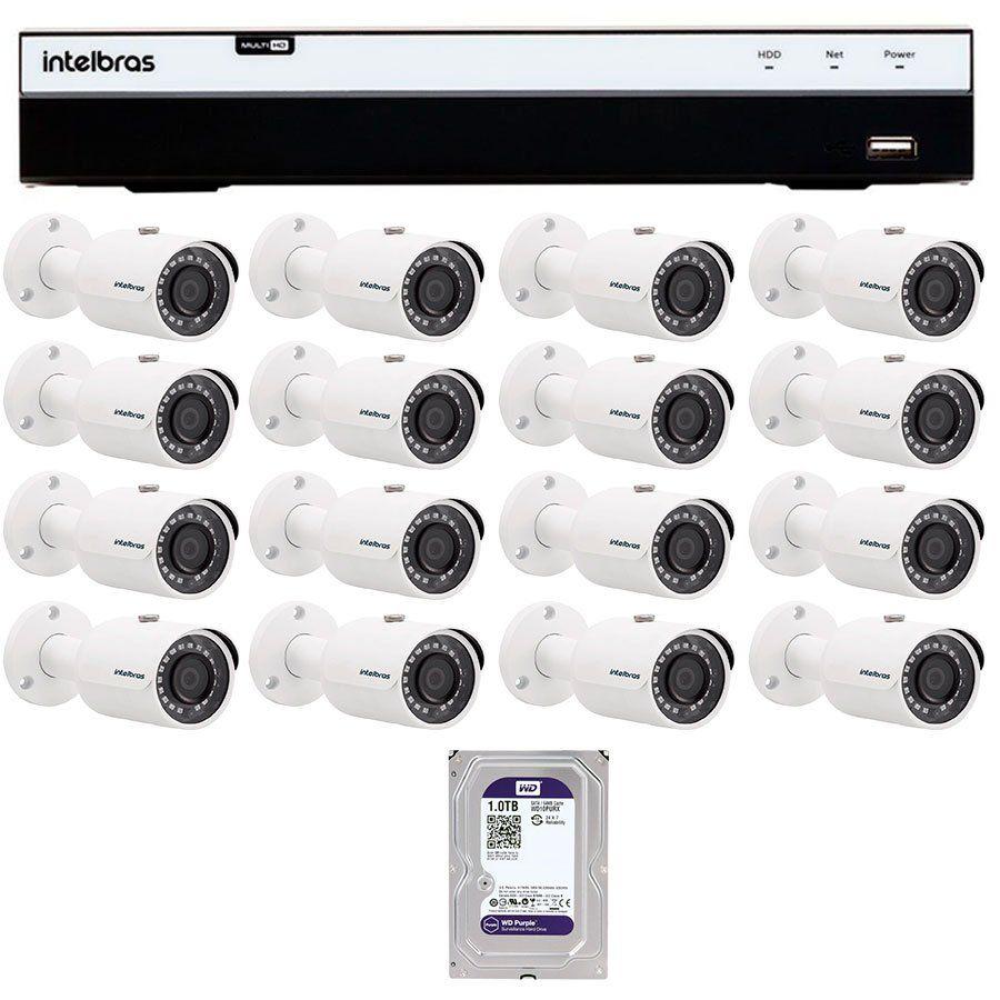 Kit 16 Câmeras de Segurança Full HD 1080p VHD 3230B G4 + DVR Intelbras Full HD + HD WD Purple 2TB + Acessórios