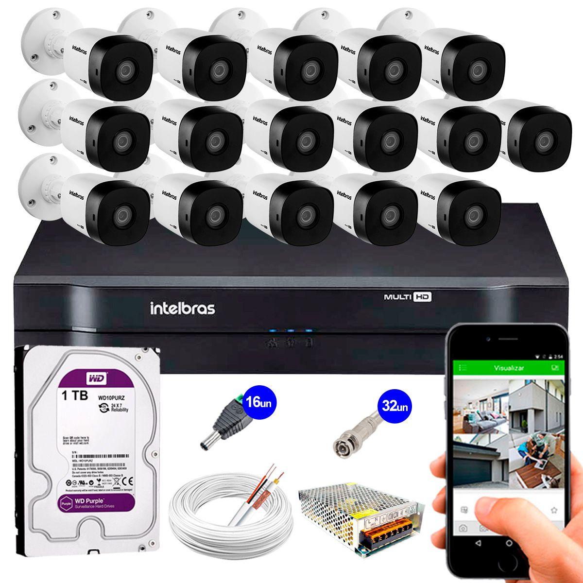 Kit 16 Câmeras VHD 3120 B G5 + DVR Intelbras + HD 1TB + App Grátis de Monitoramento, HD 720p 20m Infravermelho + Cabos e Acessórios  - Tudo Forte