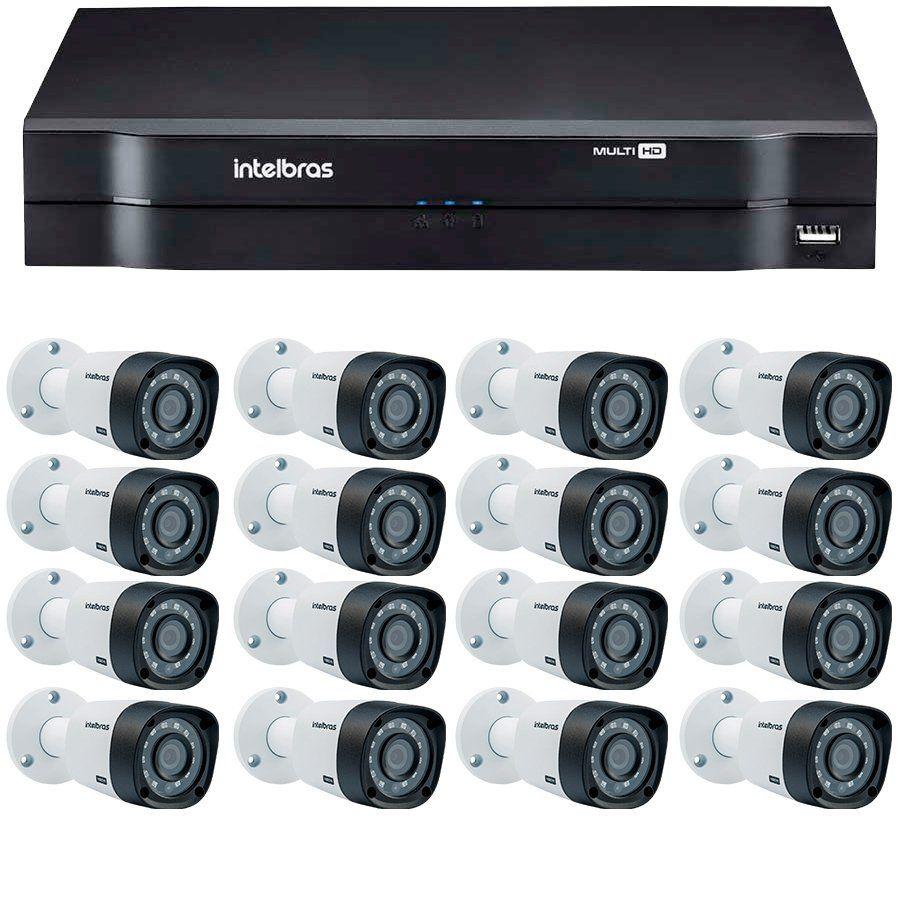 Kit 16 Câmeras de Segurança HD 720p Intelbras VHD 3130B G3 + DVR Intelbras Multi HD + Acessórios