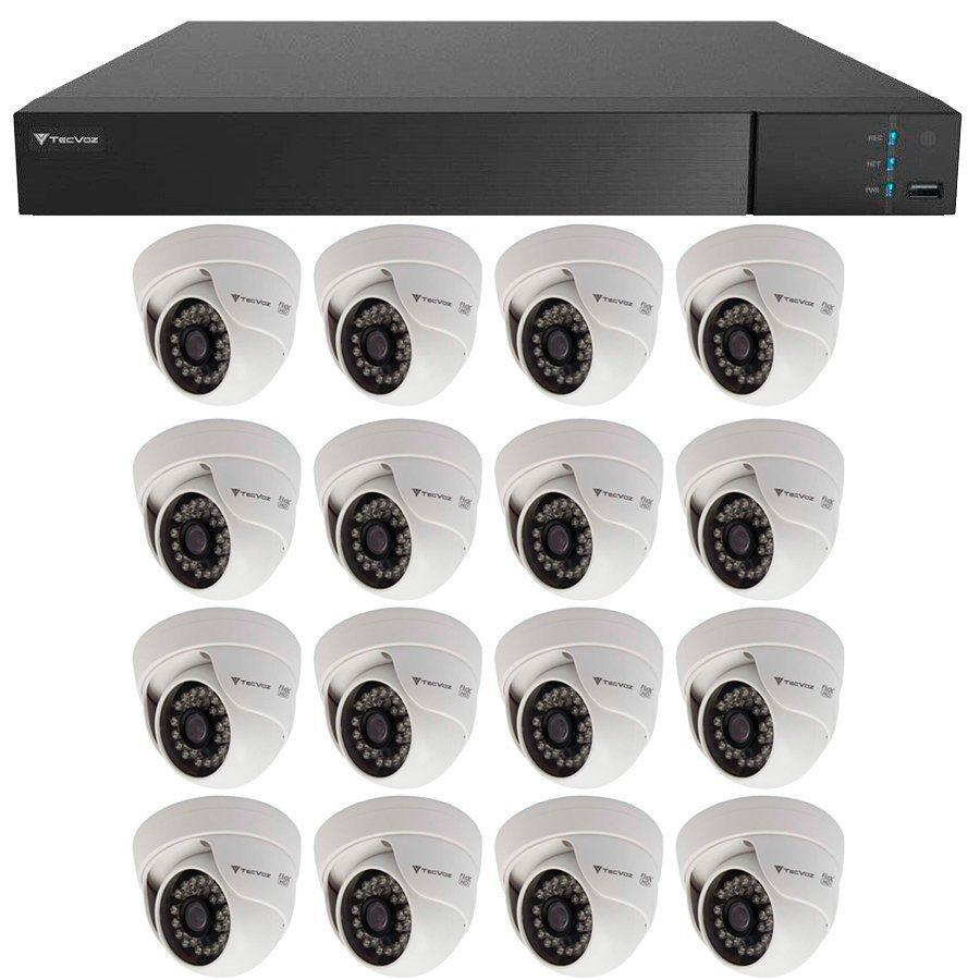 Kit 16 Câmeras de Segurança HD 720p Tecvoz Flex QDM 128P - DVR Tecvoz Flex 4 em 1 + Acessórios