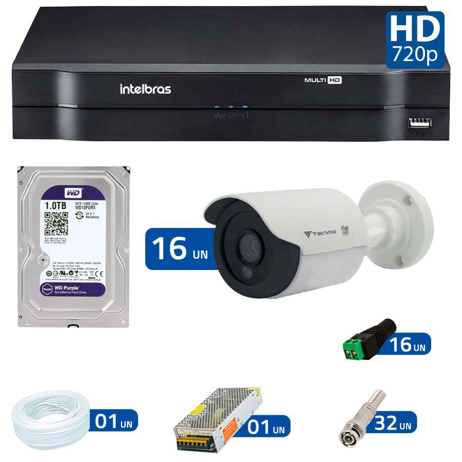 Kit 16 Câmeras de Segurança Tecvoz HD 720p CCB-128P + DVR Intelbras Multi HD + HD para Gravação + Acessórios  - Tudo Forte