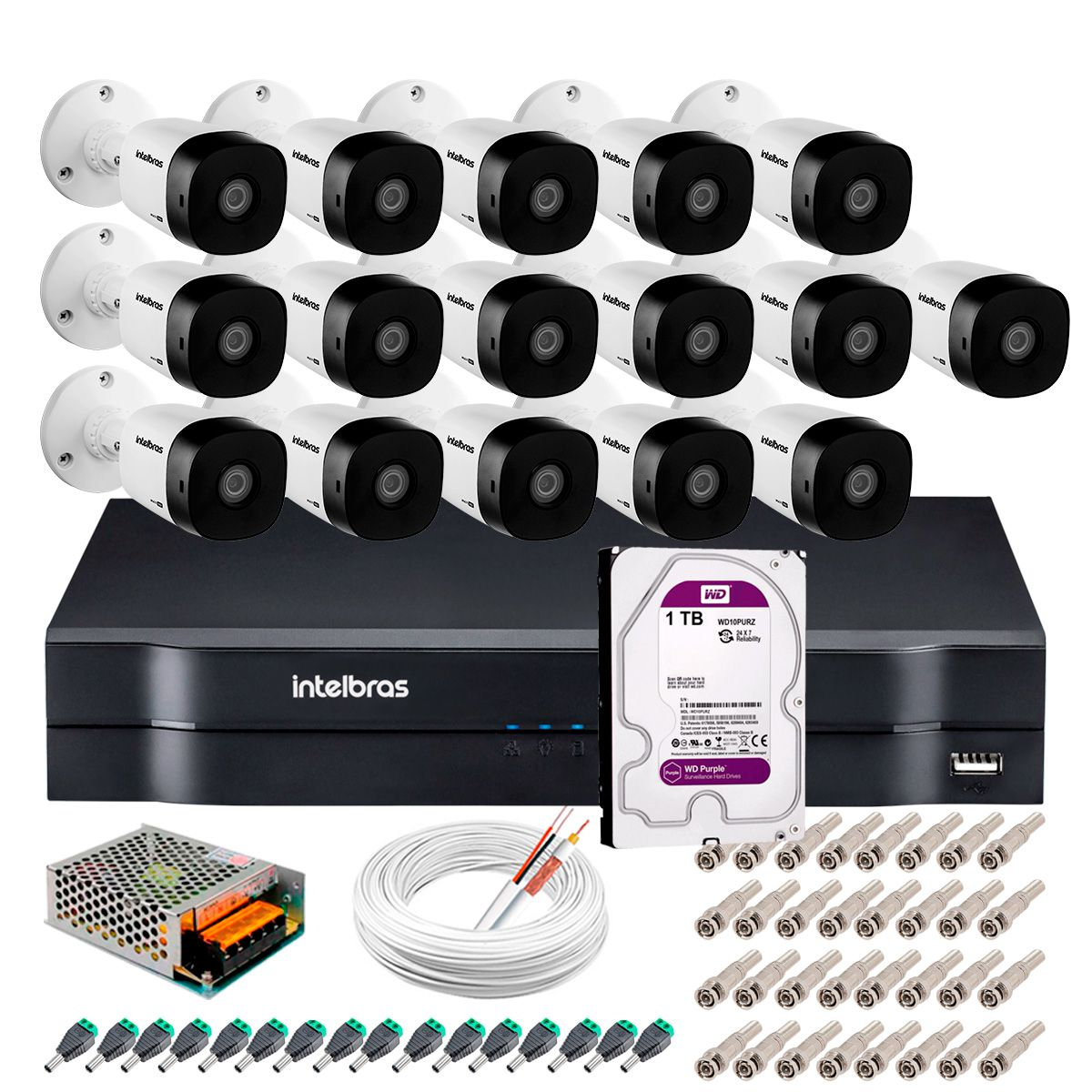Kit 16 Câmeras Intelbras VHD 1220 B Full HD 1080 Lite + DVR Intelbras + Acessórios Completo - Câmeras com 20m Infravermelho de Visão Noturna  - Tudo Forte