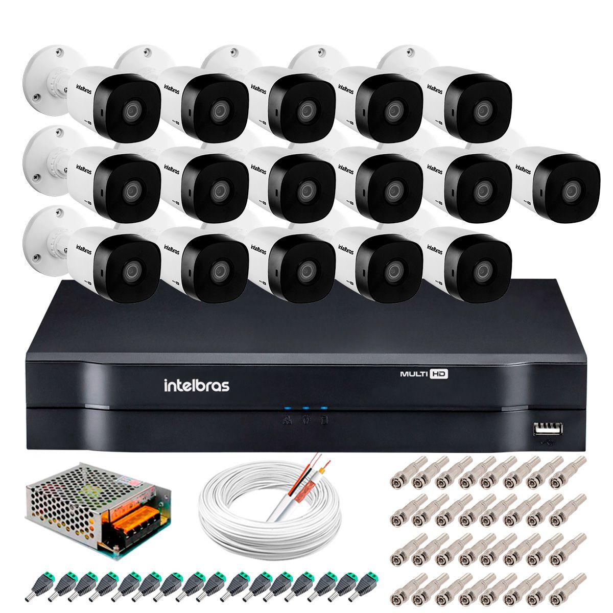 Kit 16 Câmeras Intelbras VHD 1220 B Full HD 1080 Lite + DVR Intelbras - Câmeras com 20m Infravermelho de Visão Noturna + Fonte, Cabos e Acessórios  - Tudo Forte