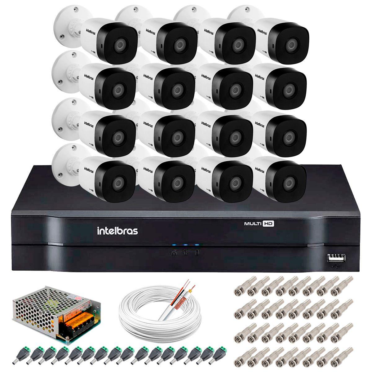 Kit 16 Câmeras VHD 1010 B G5 + DVR Intelbras + App Grátis de Monitoramento, HD 720p 10m Infravermelho + Cabos e Acessórios  - Tudo Forte