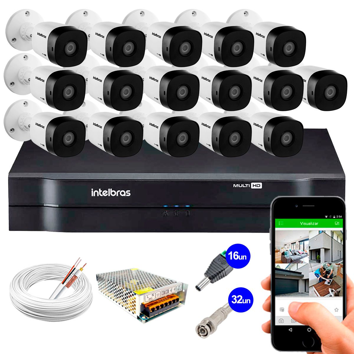 Kit 16 Câmeras VHD 1010 B G5 + DVR Intelbras + App Grátis de Monitoramento, Câmeras HD 720p 10m Infravermelho de Visão Noturna Intelbras + Fonte, Cabos e Acessórios  - Tudo Forte