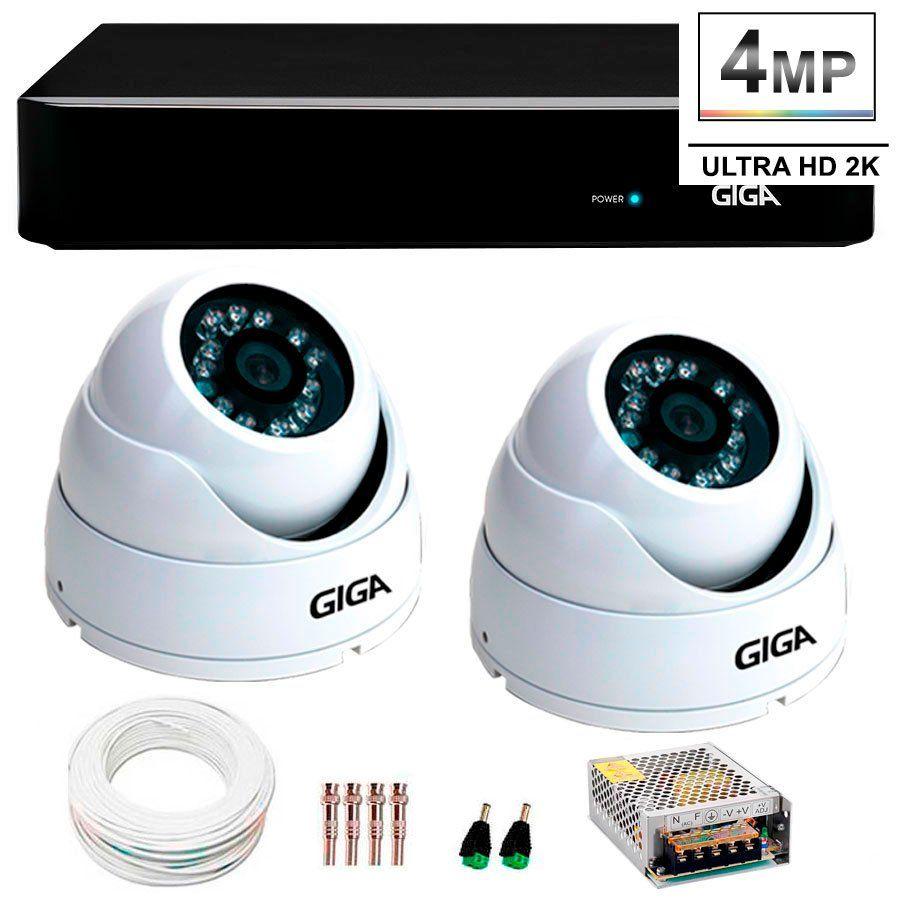 Kit 2 Câmeras de Segurança 4 Megapixels Ultra HD 2k Giga Security GS0041  + DVR Giga Security 4MP + Acessórios  - Tudo Forte