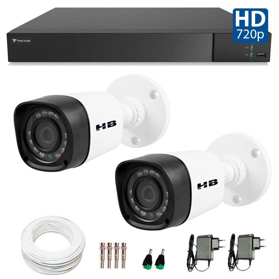 Kit 2 Câmeras de Segurança Bullet HD 720p HB Tech + DVR Flex Tecvoz + Acessórios
