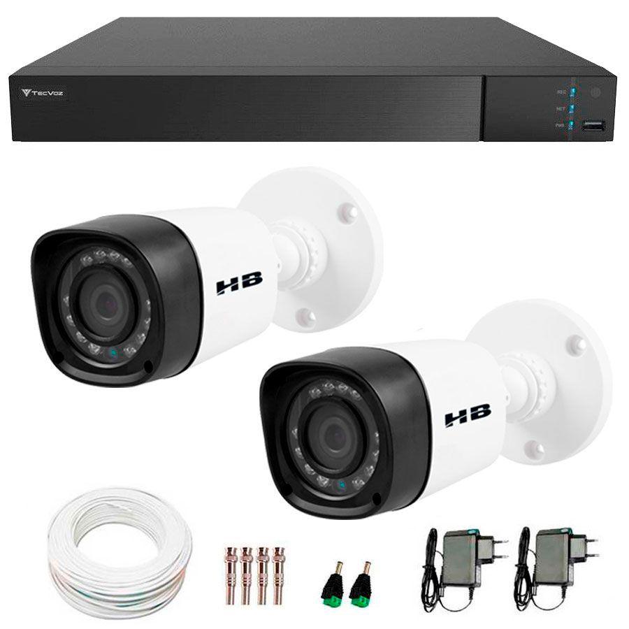 Kit 2 Câmeras de Segurança Bullet HD 720p HB Tech + DVR Flex Tecvoz + Acessórios  - Tudo Forte